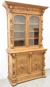 Bookcase with Glazed Doors - solid oak - 1885
