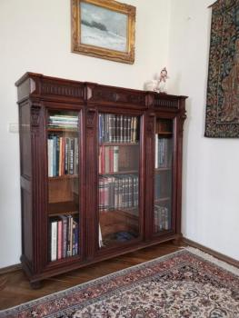 Bookcase with Glazed Doors - solid oak, clear glass - 1880
